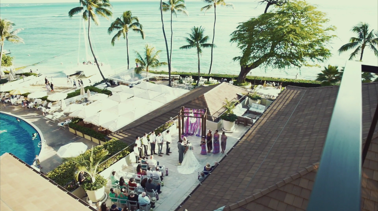 An Aerial View of the Ceremony at Halekulani Hotel