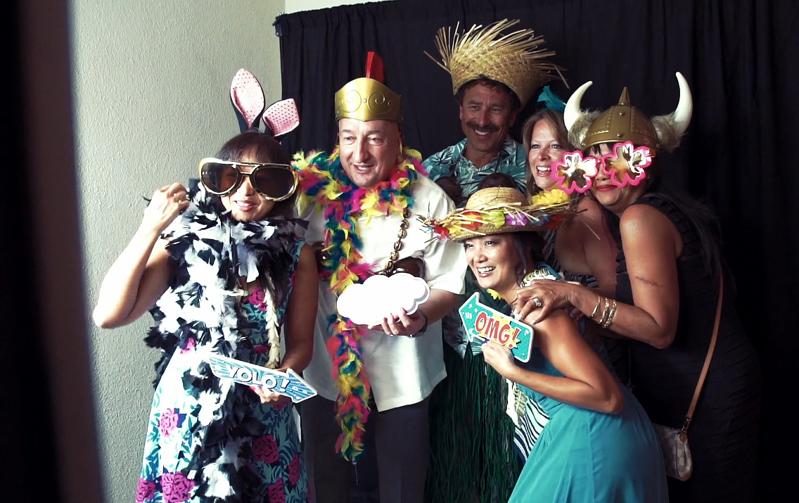 Guests Dress up in Tropical Party Props