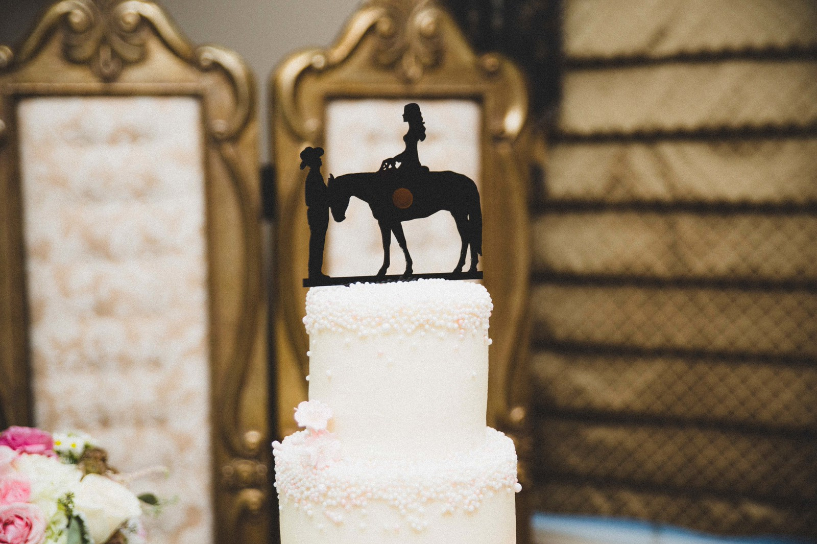 Custom Cake Topper with Silhouette of a Horse