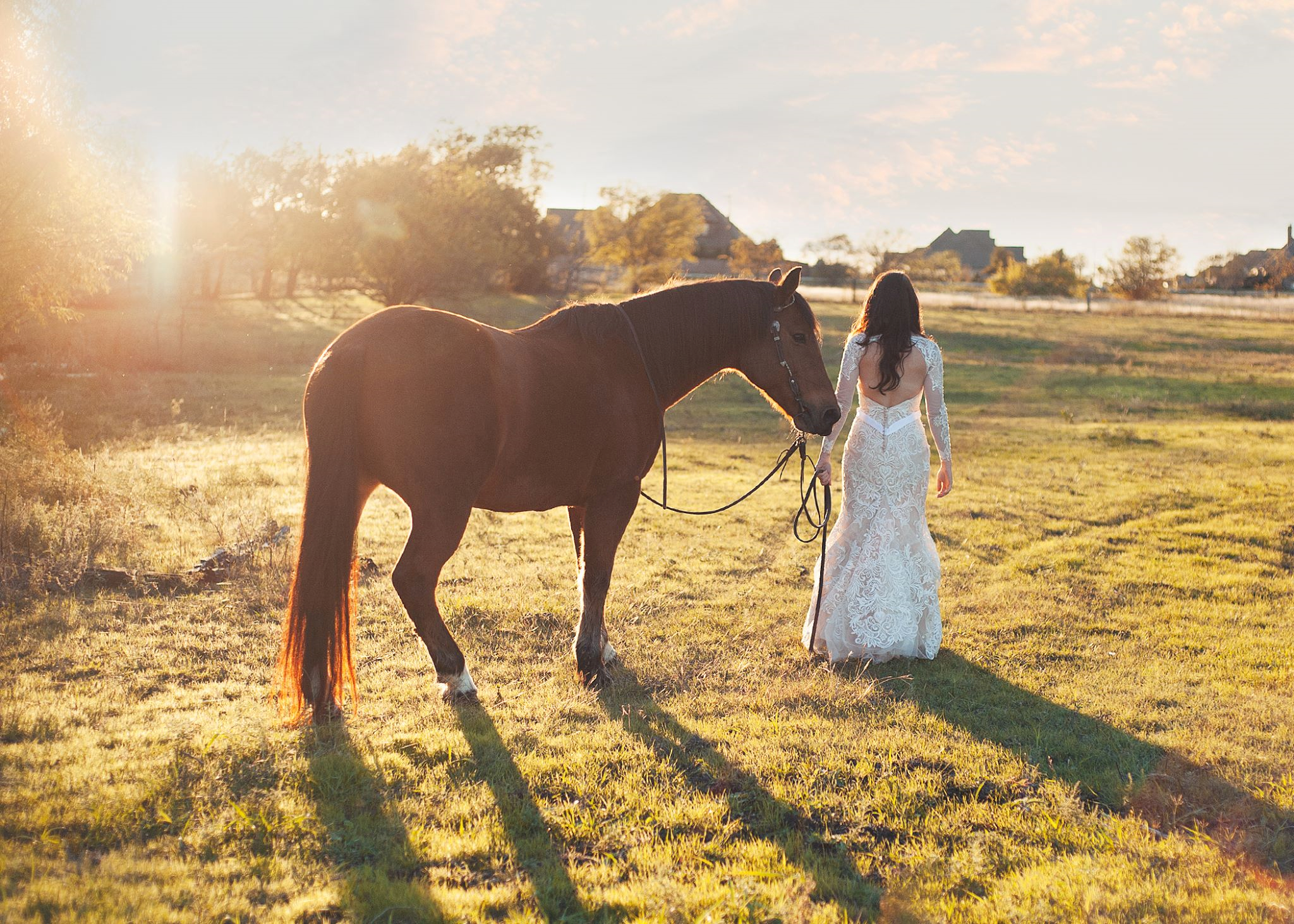 Lindsey Walks with Her Horse on Photo Shoot