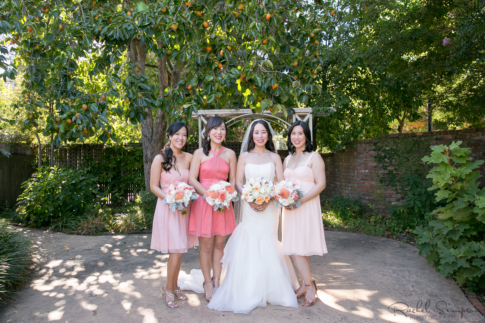 Peach Ombre in Bridesmaids Dresses