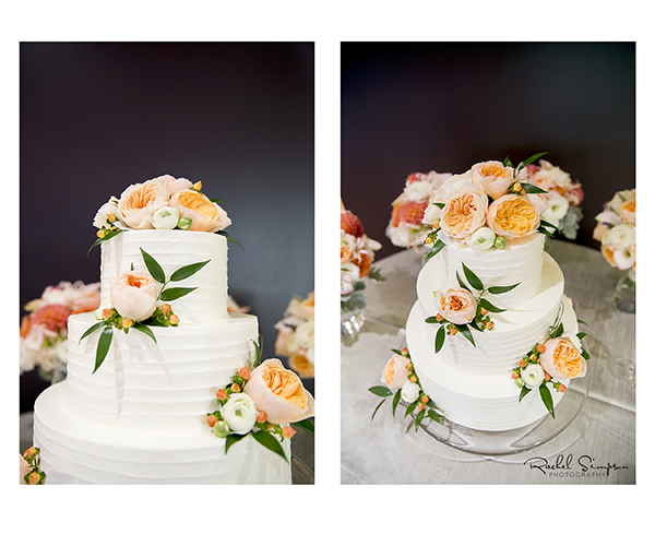 Rustic Style Cake with Peach Flowers